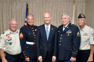 Craig Waskow, Pete Sayles, Gov. Rick Scott, Ben Humphries, Ric Brower Lincoln Day Dinner 2013 VVA Color Guard