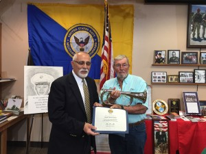George Lumenti with Shrunk Funeral Home has donated an Electronic Bugle to Chapter 1038.