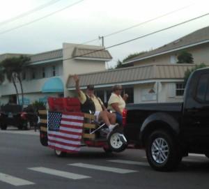 Vero Beach Independence Day Parade 2015. President Hap Alston and his wife Kathy.