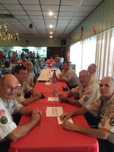 VVA 1038 Color Guard enjoying a soup lunch after performing Veterans Day Services at Vista Royale, Vero Beach.
